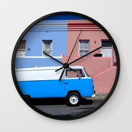 Colorful Van and Buildings Bo Kaap Cape Town South Africa Wall Clock