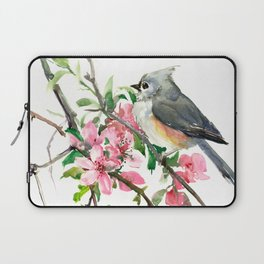 Titmouse and Cherry Blossom, birds and flowers design artwork Laptop Sleeve