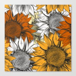 Beautiful pattern from hand drawn sunflowers Canvas Print