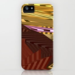 Striped landscap with stylised mountains, sea and pink Sun. iPhone Case