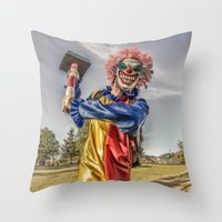 clown Throw Pillows featuring CLOWN by Steve Zar