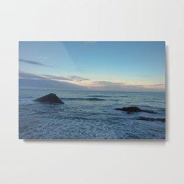 Sunset on  a black rock beach Metal Print