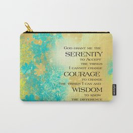 Serenity Prayer Blue Gold Flowers Carry-All Pouch