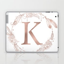 Letter K Rose Gold Pink Initial Monogram Laptop & iPad Skin