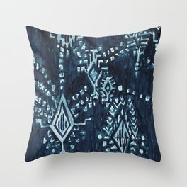 SATELLITE TRIBAL - INDIGO Throw Pillow
