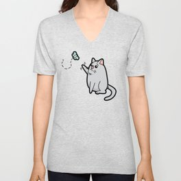 Fat Cat Trying to Get Butterfly Unisex V-Neck