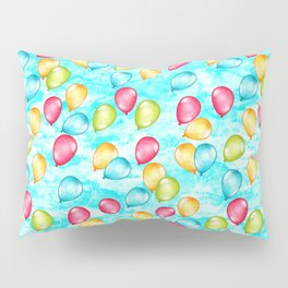 Looking Up - a sky full of optimistic balloons in rainbow color  Pillow Sham