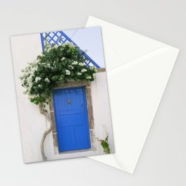 Santorini Greece Blue Door  Stationery Cards
