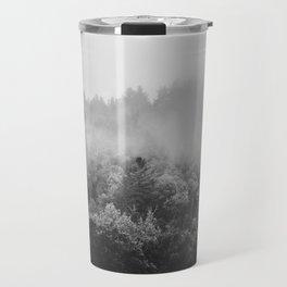 Landscape Photography | Forest Fog | Black and White Art | Minimalism Travel Mug