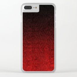 Red & Black Glitter Gradient Clear iPhone Case