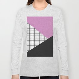 Geometry: black, pink and squres Long Sleeve T-shirt