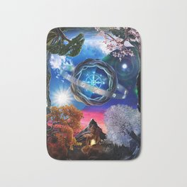 X . The Wheel Tarot Card Illustration Bath Mat