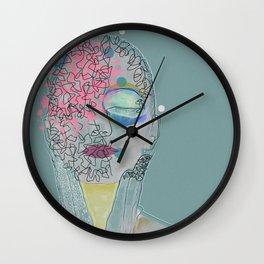 Girl with mixed feelings Wall Clock