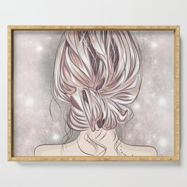 Blonde with a hairdo tenderness  Serving Tray