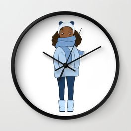 Cozy Cute Girl in Winter Breeze • Monochrome Blue Winter Wall Clock