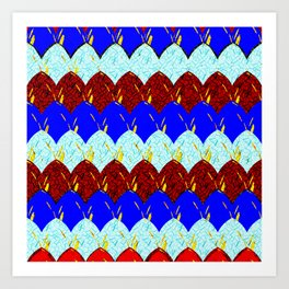Red White and Blue Scales Art Print