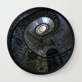 Spiral Staircase in blue and gray tones Wall Clock
