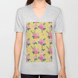 Sweet Roses on Yellow Unisex V-Neck