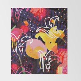 Pinkmoon Nocturnal Flower Constallation Throw Blanket