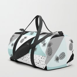 Teal black white dots pineapple geometrical color block Duffle Bag