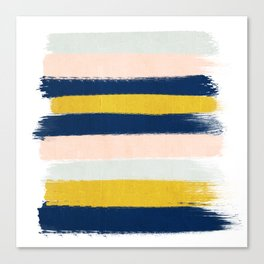 Stripes minimal trendy color palette gold silver metallic minimal home decor Canvas Print