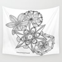 vermont Wall Tapestries featuring Vermont Zentangle Snow Flakes Illustration by Vermont Greetings