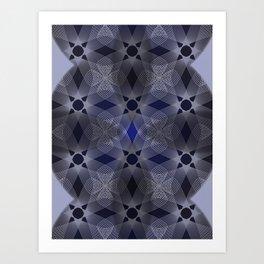 Three Colliding Circles in Black and Blue Art Print