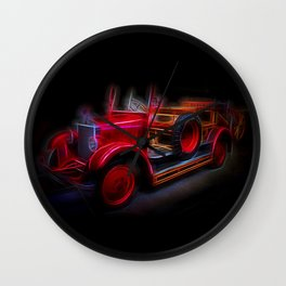 Fractal Red Car Vintage car Wall Clock