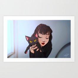 Girl with Cat Art Print