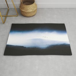 Misty Mountains Low Cloudy Sky Birds Landscape Rug
