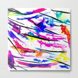 Modern bright abstract pink black multicolor watercolor brushstrokes Metal Print