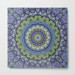 Purple n' Green Machine - Mandala Art Metal Print