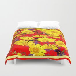 RED  & YELLOW COREOPSIS  FLORAL  ART DESIGN Duvet Cover