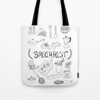breakfast Tote Bags featuring Breakfast by Brooke Weeber