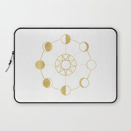 Gold Moon and Sun Phases Laptop Sleeve