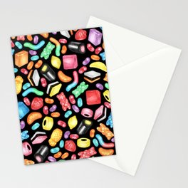 Rainbow Diet - a colorful assortment of hand-drawn candy on black Stationery Cards