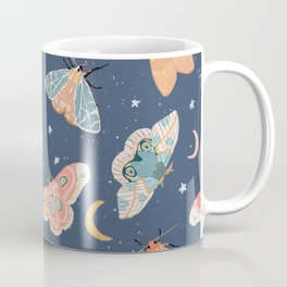 Moth & Moons Pattern - Midnight Blue Coffee Mug