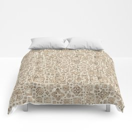 Mayan glyphs and ornaments pattern #1 Comforters