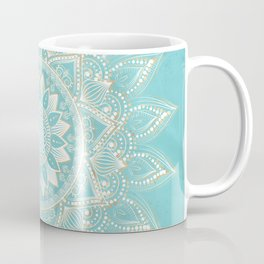 Elegant White Gold Mandala Sky Blue Design Coffee Mug