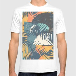 ABSTRACT TROPICAL SUNSET with palm leaves T-shirt