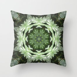 Tropical Twist - Green Leaves Kaleidoscope, Mandala Throw Pillow