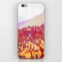 forever young iPhone & iPod Skins featuring Forever Young by KrashDesignCo.
