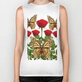RED ROSES  & MONARCH BUTTERFLIES ART Biker Tank
