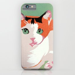 Rainbow the Calico Cat (linocut) iPhone Case