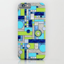 Stained Glass Window - Color Blocking - Aqua Blue Green iPhone Case