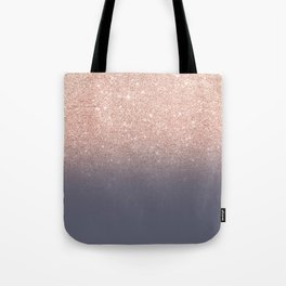 Modern faux rose gold glitter ombre gradient on purple grey Tote Bag