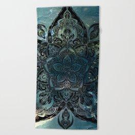 Flower mandala -night Beach Towel