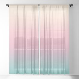 Ombre gradient illustration pink yellow blue colors Sheer Curtain