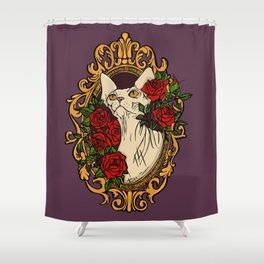 Sphynx Cat within a Baroque Frame Surrounded by Rouses Shower Curtain