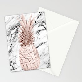 Rose Gold Pineapple on Black and White Marble Stationery Cards
